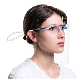 GLASSES FRAME YELLOW WITH 6 FACE SHIELDS