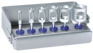 SET OF 6 SHORT TREPHINES WITH BUR BLOCK