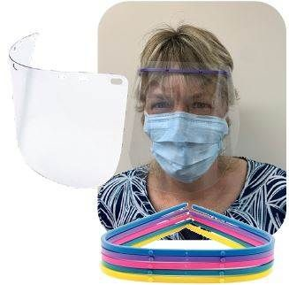 FACE SHIELD SET FRAME & 10 4HOLE SHIELDS
