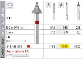 INTENSIV DIAMOND BUR 4035 FINE (833-015) FG/6