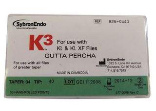 K3 GUTTA PERCHA TAPER .04 SIZE 40 PKT 50