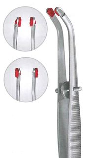 LAB CROWN FORCEPS CURVED W/SILICON TIPS