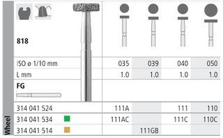INTENSIV DIAMOND BUR 111 STD (818-040) FG/6