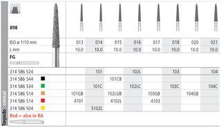 INTENSIV DIAMOND BUR 104 STD (898-021) FG/6