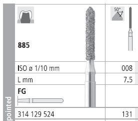 INTENSIV DIAMOND BUR 131 STD (885-008) FG/6