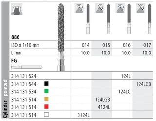 INTENSIV DIAMOND BUR 124L CRSE (886-016) FG/6