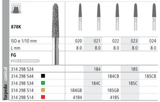 INTENSIV DIAMOND BUR 184 STD (878K-021) FG/6