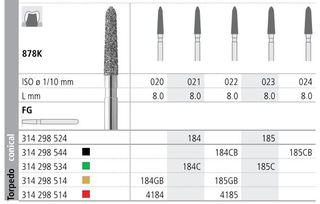 INTENSIV DIAMOND BUR 185 STD (878K-023) FG/6