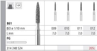 INTENSIV DIAMOND BUR 205L (861-012) RA/6