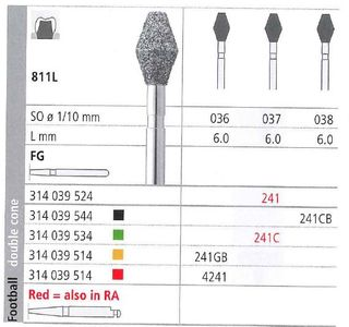 INTENSIV DIAMOND BUR 241 STD (811L-037) FG/6