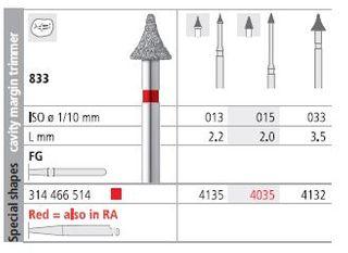 INTENSIV DIAMOND BUR 4135 FINE (833-013) FG/6