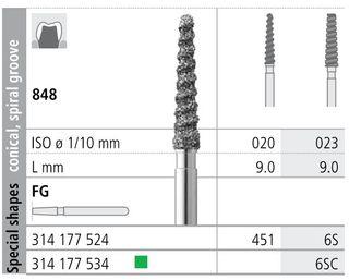 INTENSIV DIAMOND BUR 6S STD (848-023) FG/6
