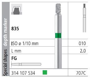 INTENSIV DIAMOND BUR 707 CRSE (835-010) FG/6