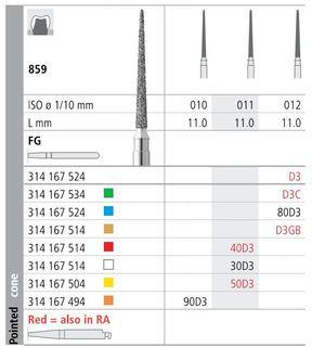 INTENSIV DIAMOND BUR 80D3 MED (859-012) FG/6