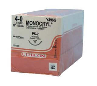 SUTURE MONOCRYL 4/0 19MM RCPRIME/12