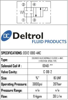 DSV2-080-4NC  DSV2-080-4NC SOLENOID CARTRIDGE