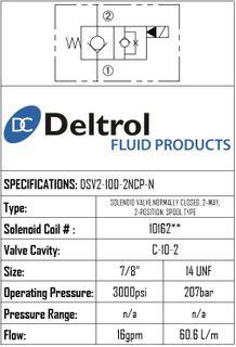 DSV2-100-2NCP-N  SOLENOID CARTRIDGE  N.C. POPPE