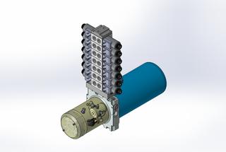 24v DC 7L/min 10-200bar 2.8L ROUND tank / horizontal mount / 7 x valve