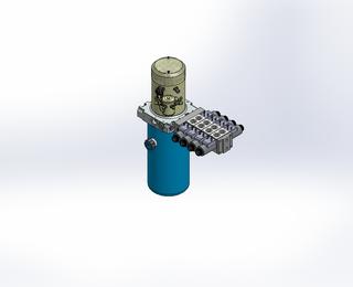 24v DC 7L/min 10-200bar 2.8L ROUND tank / vertical mount / 4 x valve