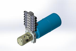 24v DC 7L/min 10-200bar 9.0L ROUND tank / horizontal mount / 6 x valve