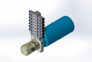 24v DC 7L/min 10-200bar 9.0L ROUND tank / horizontal mount / 7 x valve
