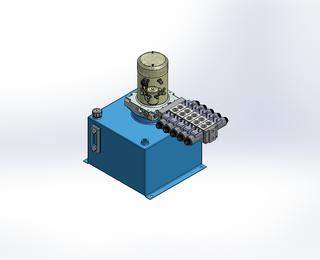 24v DC 7L/min 10-200bar 18.0L SQUARE tank / vertical mount / 5 x valve