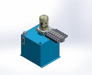 24v DC 7L/min 10-200bar 36.0L SQUARE tank / vertical mount / 6 x valve
