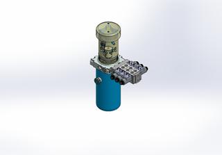 24v DC FAN ASSISTED 7L/min 10-200bar 2.8L ROUND tank / vertical mount / 3 x valve