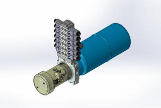 12v DC FAN ASSISTED 7L/min 10-170bar 9.0L ROUND tank / horizontal mount / 6 x valve