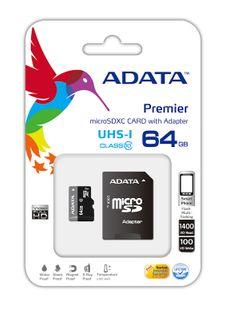ADATA 64GB MICRO SDXC CARD CLASS 10 UHS-1 INC SD ADAPTOR
