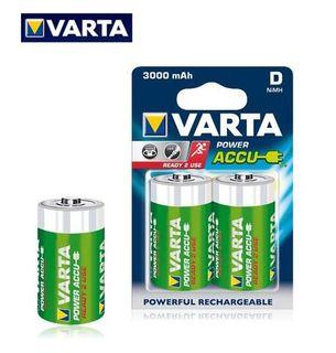 VARTA RECHARGEABLE NI-MH 3000MAH D 2PK
