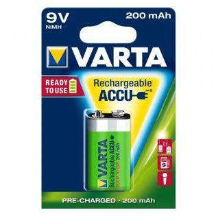 VARTA RECHARGEABLE NI-MH 200MAH 9V 1PK