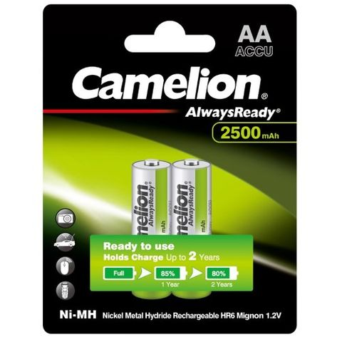 CAMELION ALWAYSREADY 2500MAH AA RECHARGEABLE 2 PACK