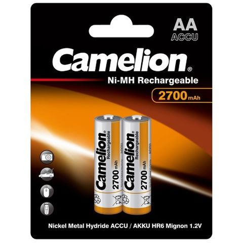 CAMELION RECHARGEABLE 2700MAH AA 2PK