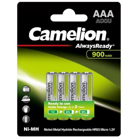 CAMELION ALWAYSREADY 900MAH AAA RECHARGEABLE 4 PACK