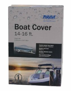 POLYTUF BOAT COVER 14-16 FT SILVER