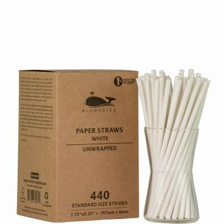 BLOWHOLES PAPER STRAWS UNWRAPPED STANDARD WHITE 440CT