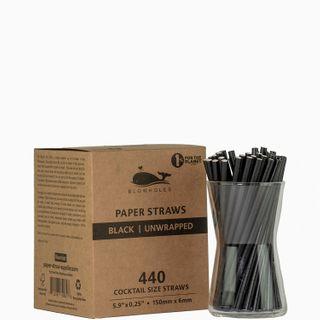 BLOWHOLES PAPER STRAWS UNWRAPPED COCKTAIL BLACK 440CT CS36