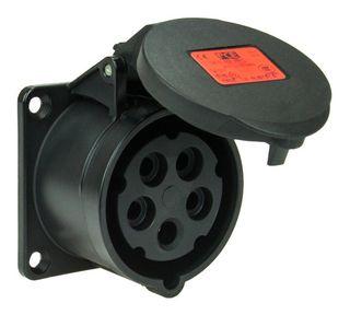 FLNGED SCKT STR IP44 32A 5P 400V