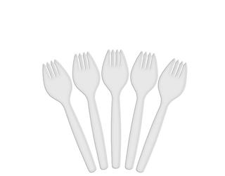 WHITE PLASTIC SPORKS 100 PER PKT