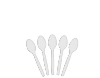 WHITE PLASTIC TEASPOONS 100 PER PKT