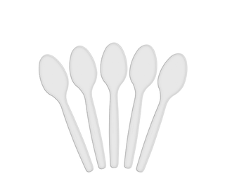 WHITE PLASTIC SPOONS (100 PER PKT)