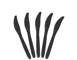 BLACK PLASTIC KNIVES (100 P/PKT)