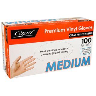MEDIUM PREMIUM VINYL GLOVE (100 P/PKT)