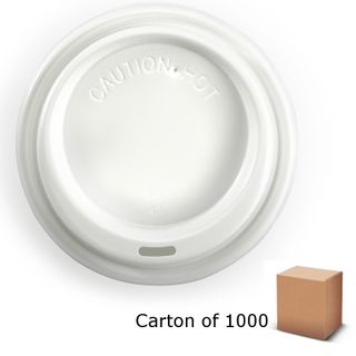 WHITE 80mm BIOPAK COFFEE LIDS (1000)