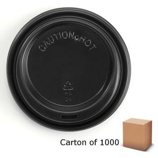 BLACK 90mm BIOPAK COFFEE LIDS (1000)