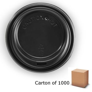 BLACK 80mm BIOPAK COFFEE LIDS (1000)