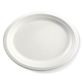 "SUGARCANE OVAL WHITE 10x8.5"" PLATE (50)"