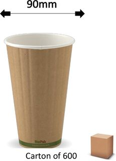 16oz GREEN STRIPE DOUBLE WALL CUPS (600)