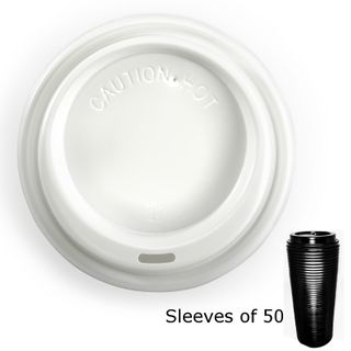 WHITE 90mm BIOPAK COFFEE LIDS (50)